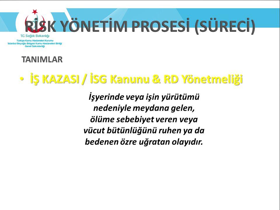 İŞ KAZASI / İSG Kanunu & RD Yönetmeliği İŞ KAZASI / İSG Kanunu & RD Yönetmeliği İşyerinde veya işin yürütümü nedeniyle meydana gelen, ölüme sebebiyet
