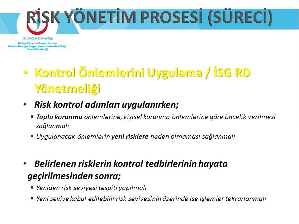 Kontrol Önlemlerini Uygulama / İSG RD Yönetmeliği Kontrol Önlemlerini Uygulama / İSG RD Yönetmeliği Risk kontrol adımları uygulanırken;  Toplu korunm