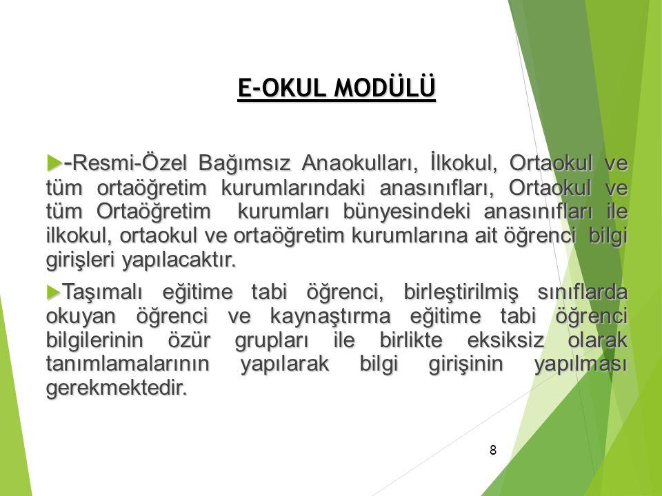 E-OKUL MODÜLÜ  - Resmi-Özel Bağımsız Anaokulları, İlkokul, Ortaokul ve tüm ortaöğretim kurumlarındaki anasınıfları, Ortaokul ve tüm Ortaöğretim kurum