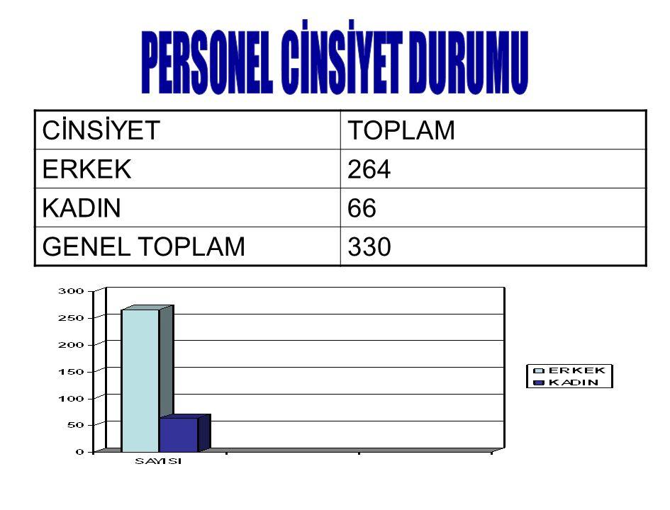 CİNSİYETTOPLAM ERKEK264 KADIN66 GENEL TOPLAM330