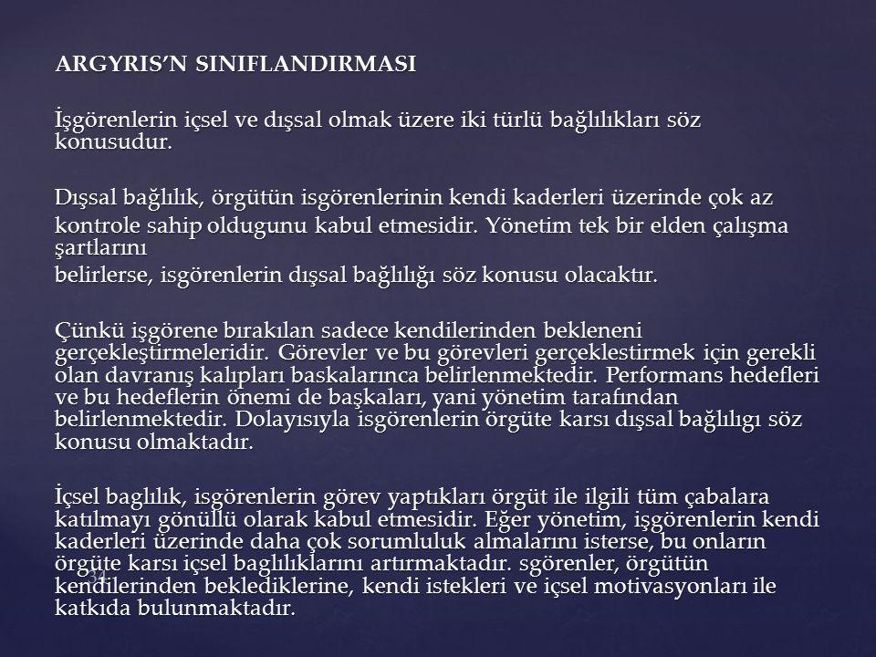 ARGYRIS'N SINIFLANDIRMASI İşgörenlerin içsel ve dışsal olmak üzere iki türlü bağlılıkları söz konusudur.