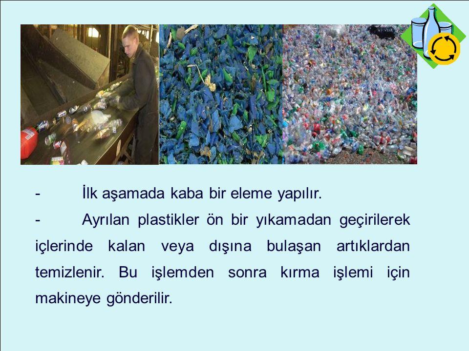 -İlk aşamada kaba bir eleme yapılır. -Ayrılan plastikler ön bir yıkamadan geçirilerek içlerinde kalan veya dışına bulaşan artıklardan temizlenir. Bu i
