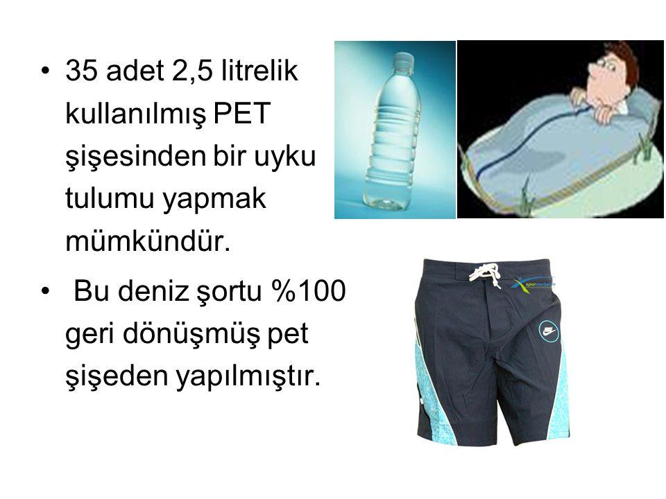 35 adet 2,5 litrelik kullanılmış PET şişesinden bir uyku tulumu yapmak mümkündür. Bu deniz şortu %100 geri dönüşmüş pet şişeden yapılmıştır.