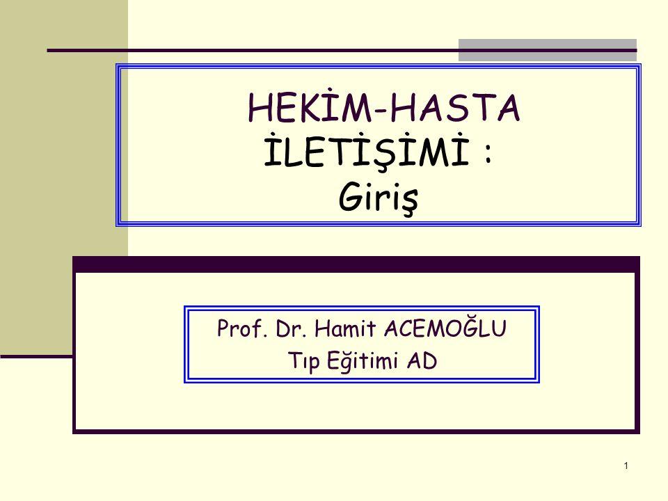 1 HEKİM-HASTA İLETİŞİMİ : Giriş Prof. Dr. Hamit ACEMOĞLU Tıp Eğitimi AD