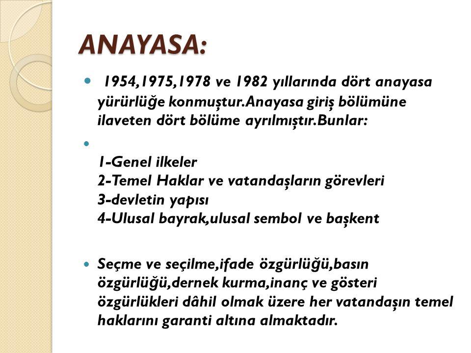 ANAYASA: 1954,1975,1978 ve 1982 yıllarında dört anayasa yürürlü ğ e konmuştur.Anayasa giriş bölümüne ilaveten dört bölüme ayrılmıştır.Bunlar: 1-Genel