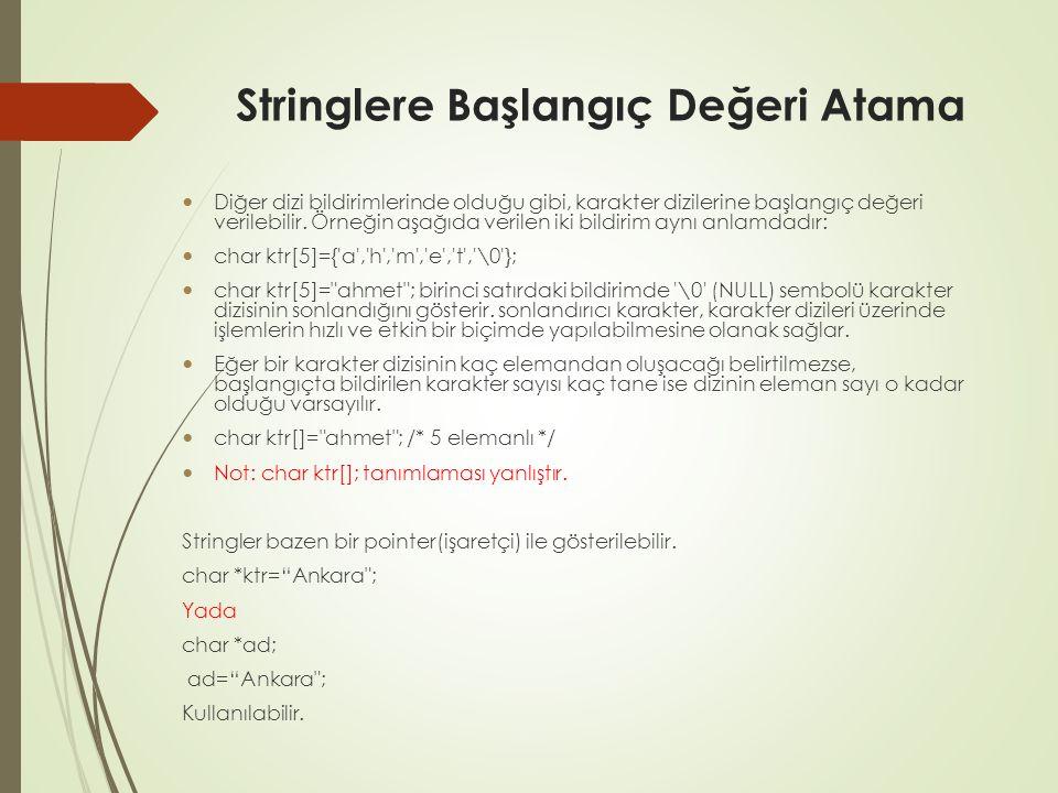 Stringlere Başlangıç Değeri Atama Diğer dizi bildirimlerinde olduğu gibi, karakter dizilerine başlangıç değeri verilebilir.