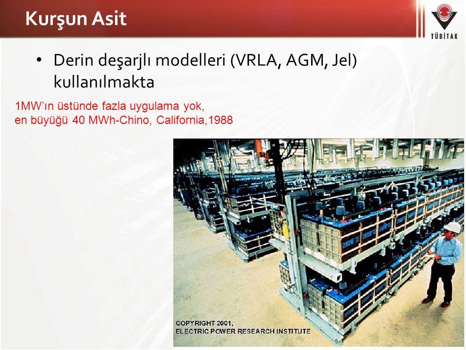 Kurşun Asit Derin deşarjlı modelleri (VRLA, AGM, Jel) kullanılmakta 1MW'ın üstünde fazla uygulama yok, en büyüğü 40 MWh-Chino, California,1988