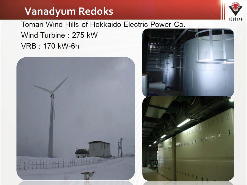 Vanadyum Redoks Tomari Wind Hills of Hokkaido Electric Power Co. Wind Turbine : 275 kW VRB : 170 kW-6h