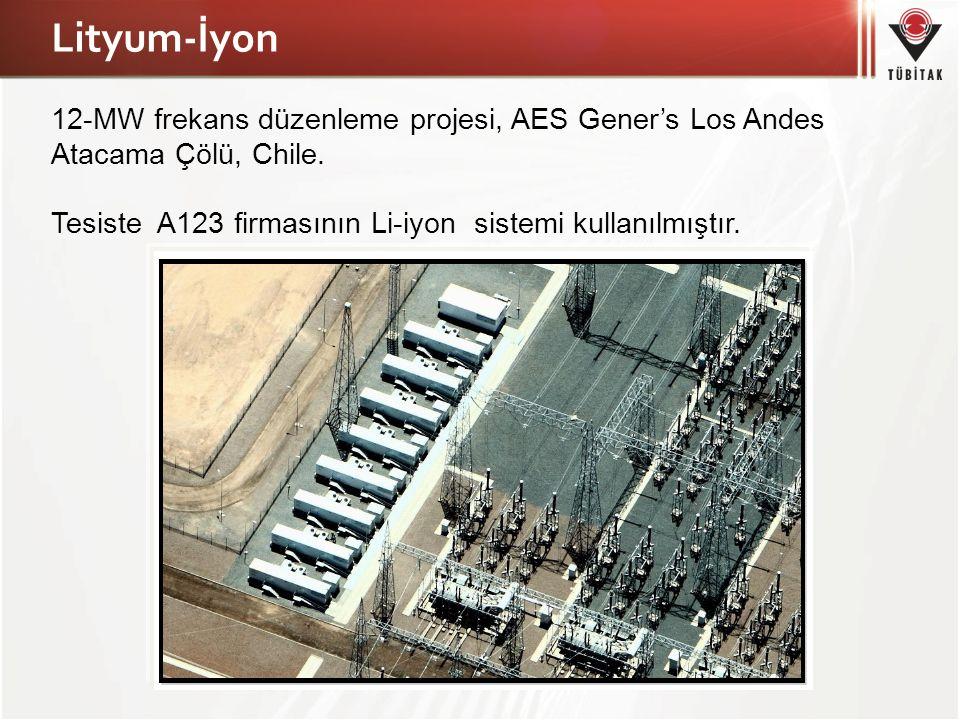 Lityum-İyon 12-MW frekans düzenleme projesi, AES Gener's Los Andes Atacama Çölü, Chile. Tesiste A123 firmasının Li-iyon sistemi kullanılmıştır.