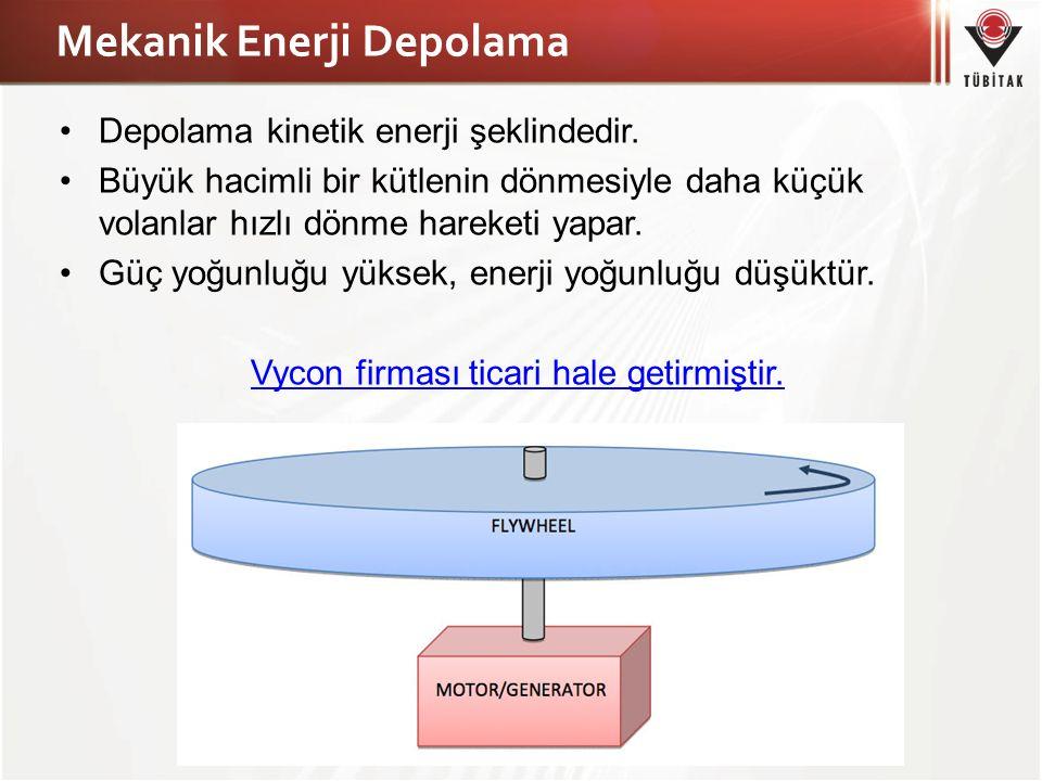 Mekanik Enerji Depolama Depolama kinetik enerji şeklindedir. Büyük hacimli bir kütlenin dönmesiyle daha küçük volanlar hızlı dönme hareketi yapar. Güç