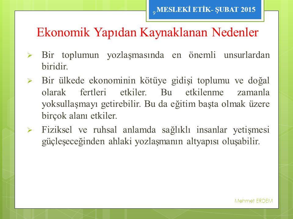 MESLEKİ ETİK- ŞUBAT 2015 Ekonomik Yapıdan Kaynaklanan Nedenler  Bir toplumun yozlaşmasında en önemli unsurlardan biridir.