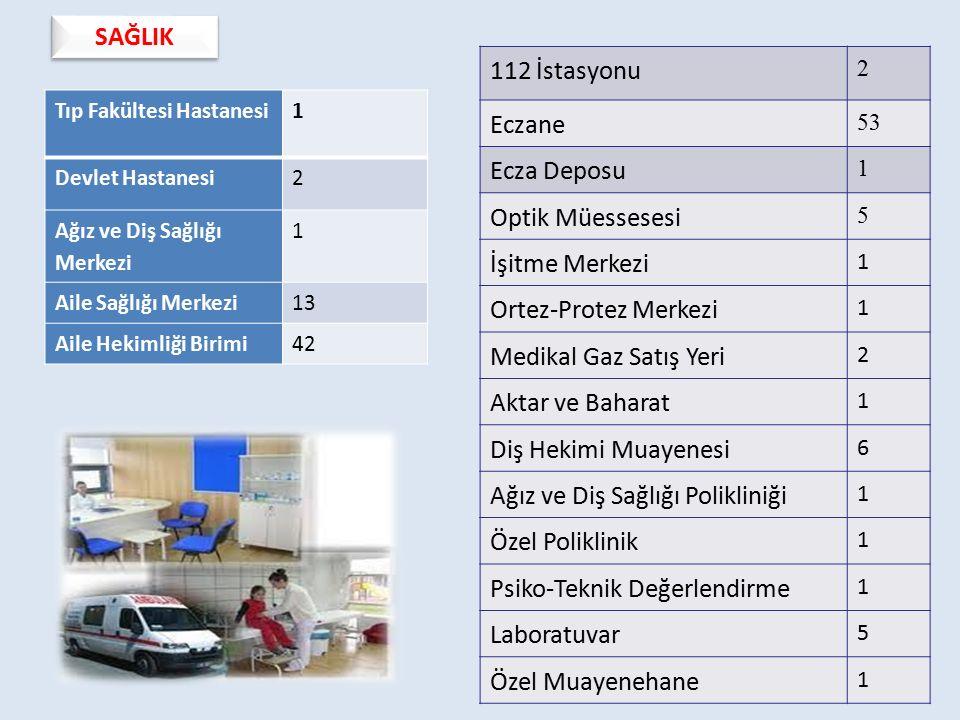 Tıp Fakültesi Hastanesi1 Devlet Hastanesi2 Ağız ve Diş Sağlığı Merkezi 1 Aile Sağlığı Merkezi13 Aile Hekimliği Birimi42 SAĞLIK 112 İstasyonu 2 Eczane