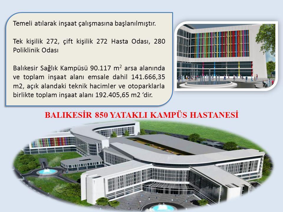 Temeli atılarak inşaat çalışmasına başlanılmıştır. Tek kişilik 272, çift kişilik 272 Hasta Odası, 280 Poliklinik Odası Balıkesir Sağlık Kampüsü 90.117