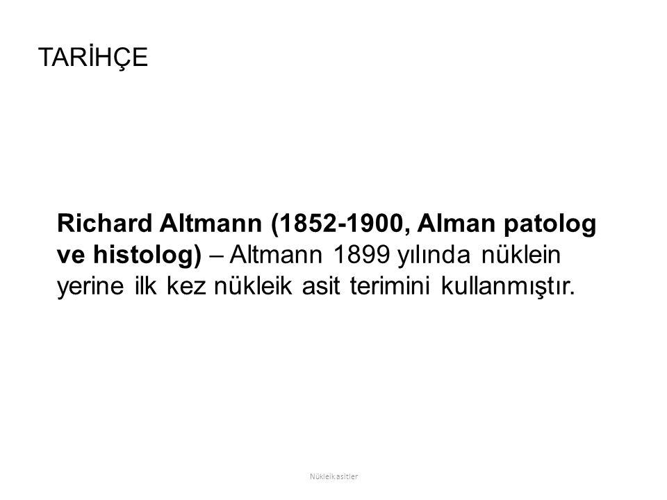 Richard Altmann (1852-1900, Alman patolog ve histolog) – Altmann 1899 yılında nüklein yerine ilk kez nükleik asit terimini kullanmıştır. TARİHÇE Nükle