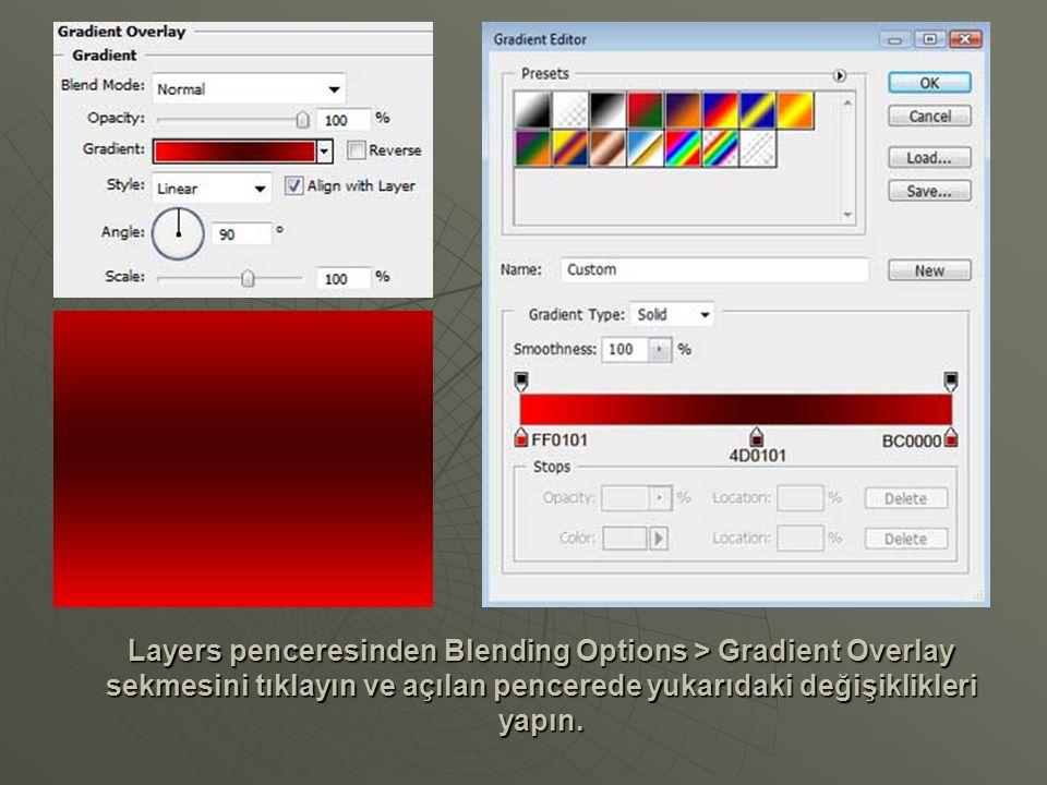 Layers penceresinden Blending Options > Inner Glow sekmesini tıklayın ve açılan pencerede aşağıdaki değişiklikleri yapın.