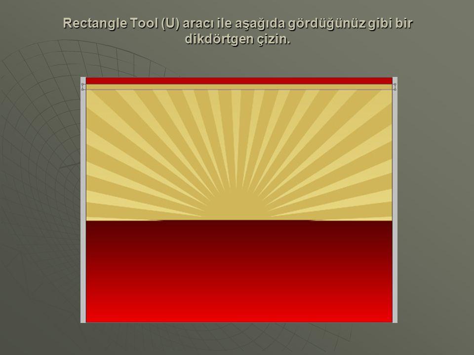 Rectangle Tool (U) aracı ile aşağıda gördüğünüz gibi bir dikdörtgen çizin.