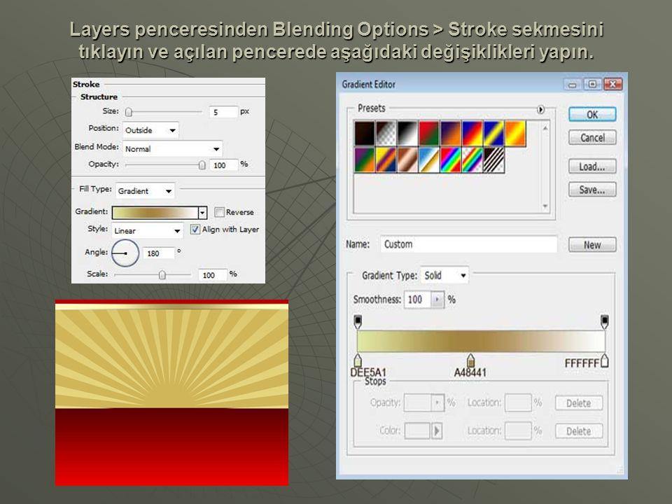 Yukarıda çizdiğimiz dikdörtgeni Duplicate Layer ile çoğaltın ve resimde gördüğünüz şekilde yerleştirin.