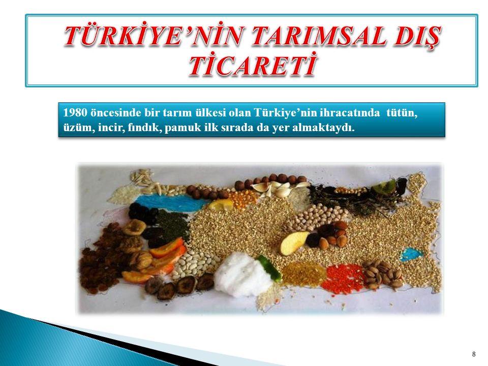 1980 öncesinde bir tarım ülkesi olan Türkiye'nin ihracatında tütün, üzüm, incir, fındık, pamuk ilk sırada da yer almaktaydı. 8