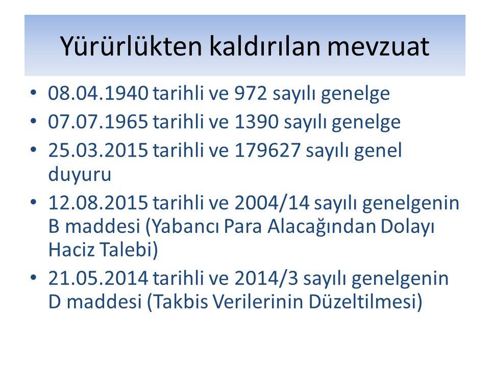Yürürlükten kaldırılan mevzuat 08.04.1940 tarihli ve 972 sayılı genelge 07.07.1965 tarihli ve 1390 sayılı genelge 25.03.2015 tarihli ve 179627 sayılı