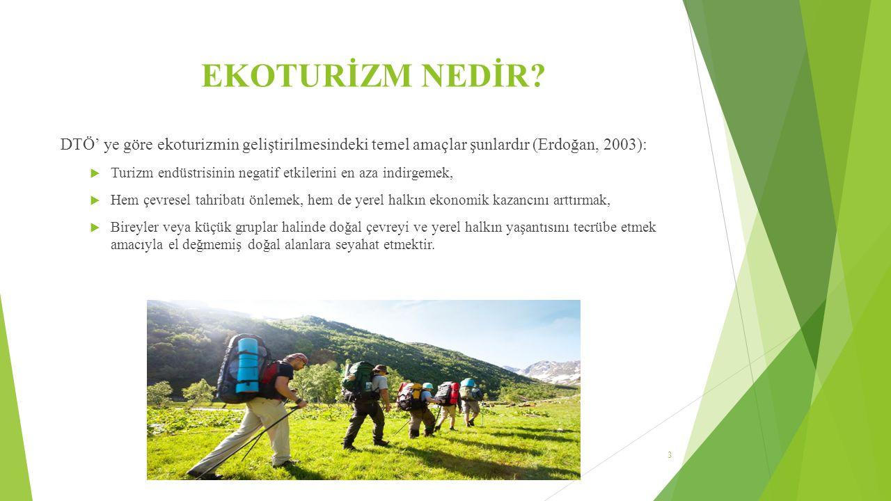 EKOTURİZMİN YAPISAL ÖZELLİĞİ Uluslararası Ekoturizm Topluluğu (TIES), ekoturizmi doğal alanlara yapılan, çevreyi koruyan ve yerel halk için ekonomik destek sağlayan, sorumlu seyahatler olarak tanımlar ve şu prensipleri mutlaka taşıması gerektiğini belirler:  Çevreye olabilecek en alt düzeyde etki,  Doğal ve kültürel değerlere dikkat çekme ve onlara saygılı olma,  Ekoturistlere ve yerel halka olumlu deneyimler kazandırma,  Koruma çalışmalarına doğrudan ekonomik destek sağlama,  Yerel halka istihdam olanağı ve ekonomik destek sağlama,  Ziyaret edilen ülkenin politikalarına, çevre anlayışına ve sosyal yaşamlarına katkı,  Uluslararası insan hakları ve çalışma koşulları antlaşmalarının desteklenmesi (Yalçınalp, 2005).