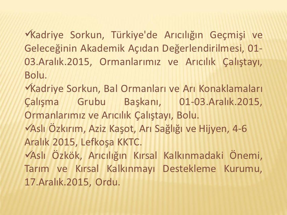 Kadriye Sorkun, Türkiye de Arıcılığın Geçmişi ve Geleceğinin Akademik Açıdan Değerlendirilmesi, 01- 03.Aralık.2015, Ormanlarımız ve Arıcılık Çalıştayı, Bolu.