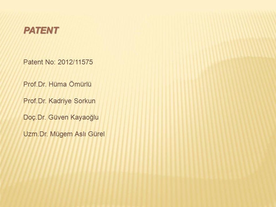 PATENT Patent No: 2012/11575 Prof.Dr. Hüma Ömürlü Prof.Dr. Kadriye Sorkun Doç.Dr. Güven Kayaoğlu Uzm.Dr. Mügem Aslı Gürel