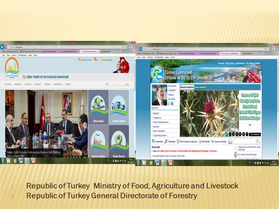 1. Republic of Turkey Ministry of Food, Agriculture and Livestock 2. Republic of Turkey General Directorate of Forestry