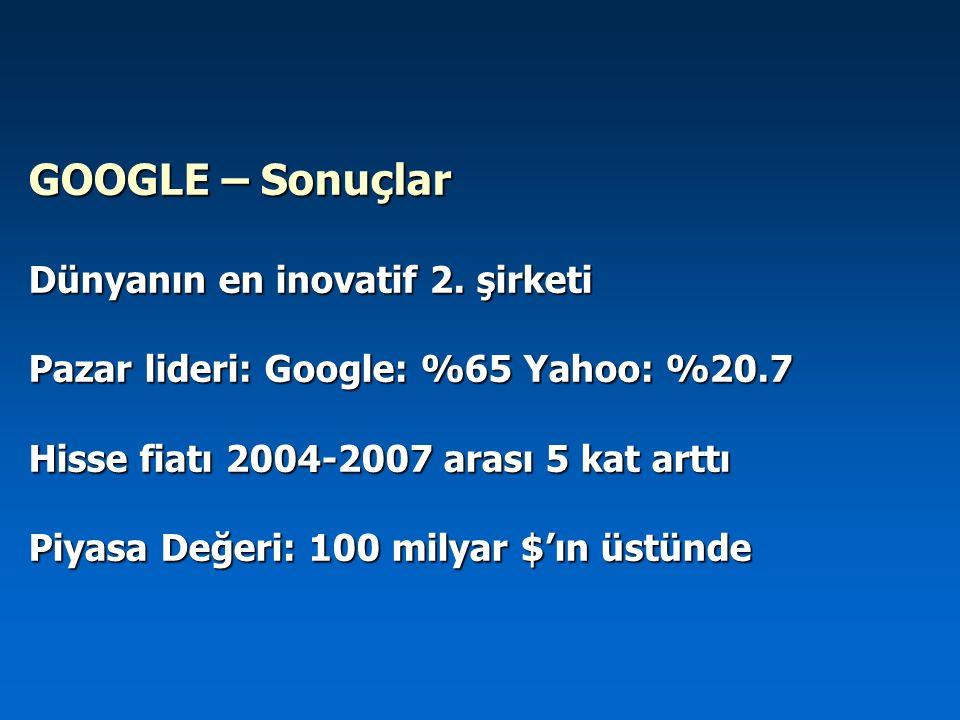 GOOGLE – Sonuçlar Dünyanın en inovatif 2. şirketi Pazar lideri: Google: %65 Yahoo: %20.7 Hisse fiatı 2004-2007 arası 5 kat arttı Piyasa Değeri: 100 mi