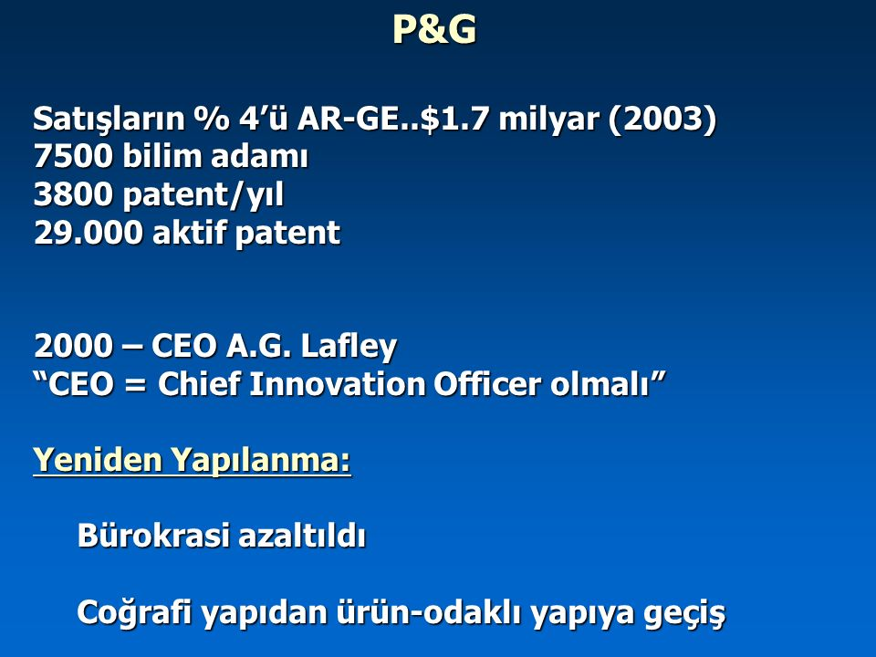 """P&G Satışların % 4'ü AR-GE..$1.7 milyar (2003) 7500 bilim adamı 3800 patent/yıl 29.000 aktif patent 2000 – CEO A.G. Lafley """"CEO = Chief Innovation Off"""