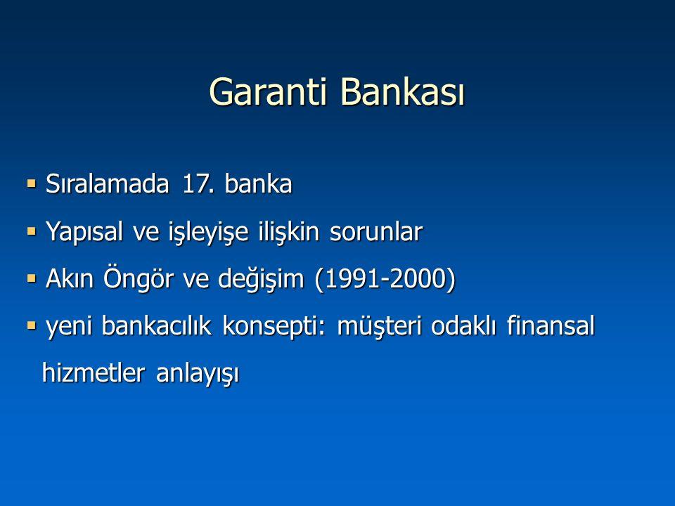 Garanti Bankası  Sıralamada 17. banka  Yapısal ve işleyişe ilişkin sorunlar  Akın Öngör ve değişim (1991-2000)  yeni bankacılık konsepti: müşteri