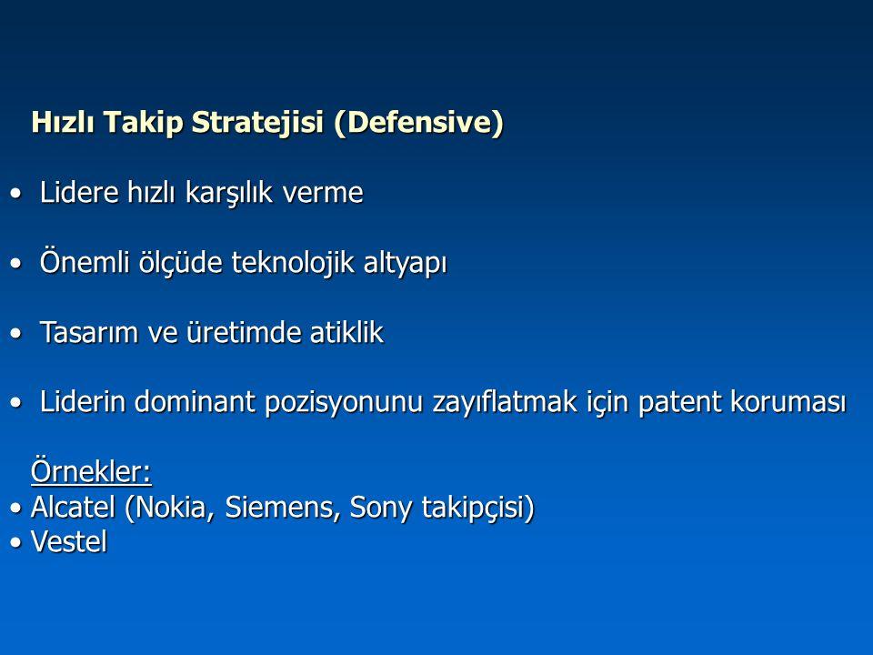 Hızlı Takip Stratejisi (Defensive) Lidere hızlı karşılık verme Lidere hızlı karşılık verme Önemli ölçüde teknolojik altyapı Önemli ölçüde teknolojik a