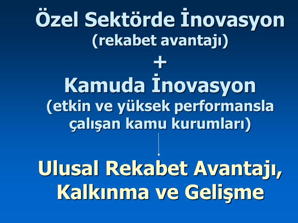 Özel Sektörde İnovasyon (rekabet avantajı) + Kamuda İnovasyon (etkin ve yüksek performansla çalışan kamu kurumları) Ulusal Rekabet Avantajı, Kalkınma