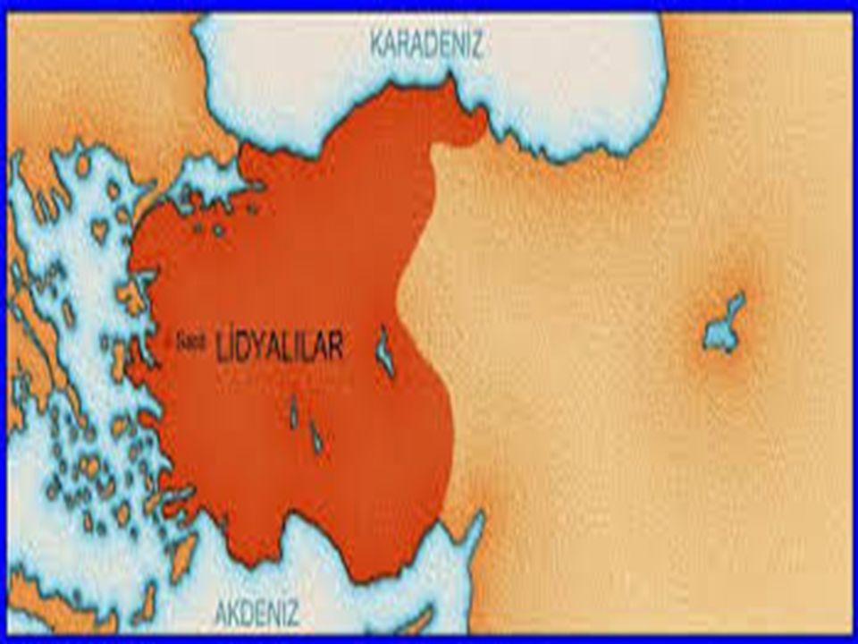 LİDYALILAR Lidyalılar, Frigler ' in yıkılmasından sonra Gediz ve Küçük Menderes vadileri arasında kalan bölgede Giges önderliğinde başkenti Sardes olan bir devlet kurmuşlar dır.