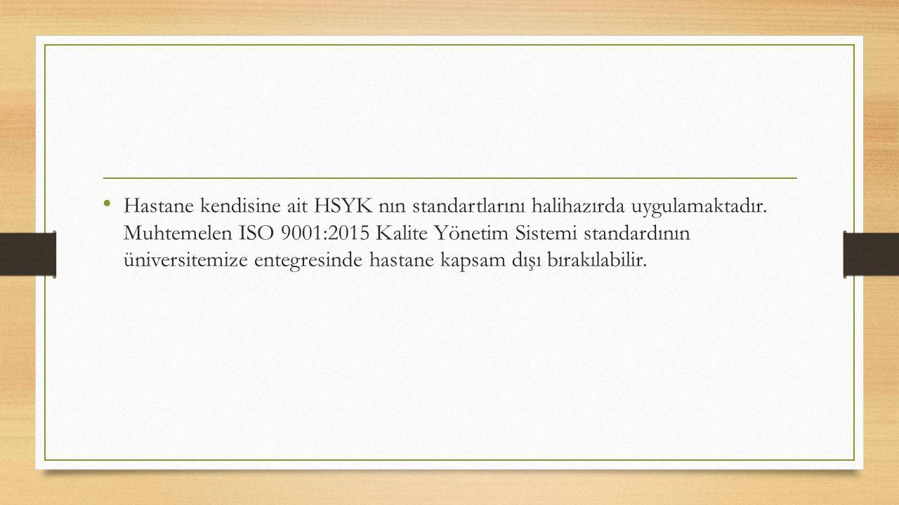 Hastane kendisine ait HSYK nın standartlarını halihazırda uygulamaktadır. Muhtemelen ISO 9001:2015 Kalite Yönetim Sistemi standardının üniversitemize