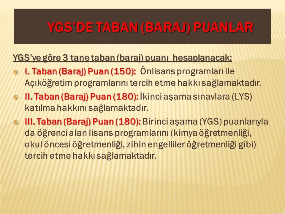 YGS'DE TABAN (BARAJ) PUANLAR YGS'ye göre 3 tane taban (baraj) puanı hesaplanacak:  I. Taban (Baraj) Puan (150):  I. Taban (Baraj) Puan (150): Önlisa