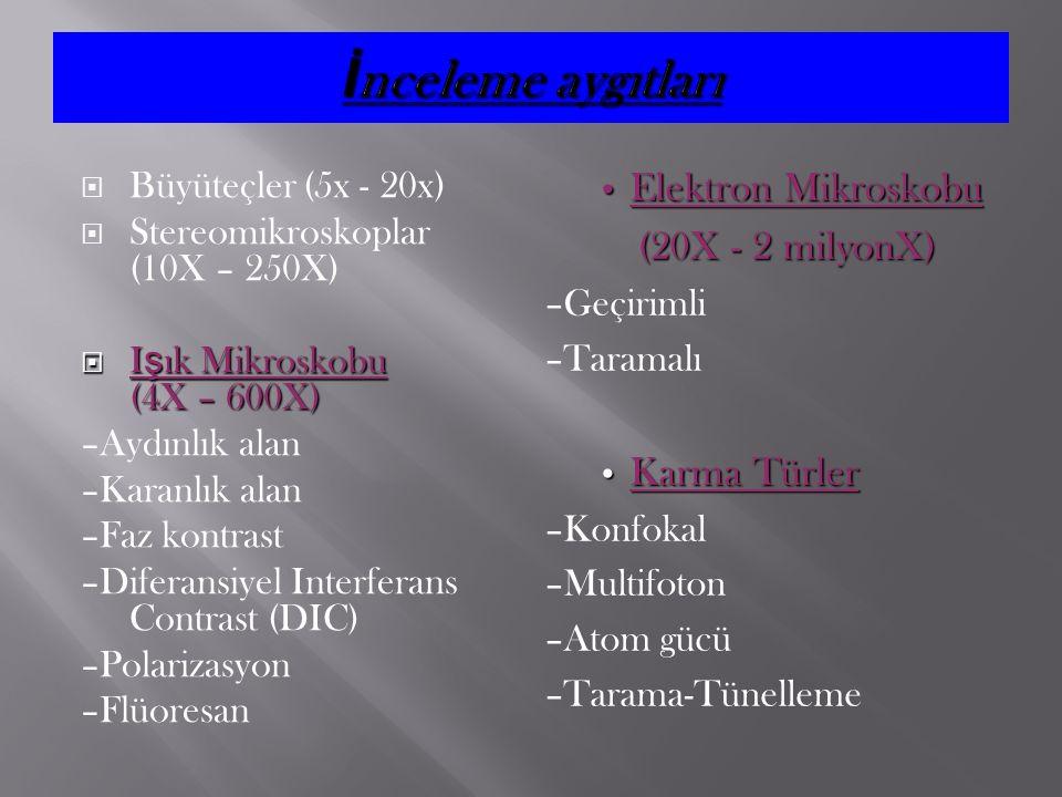  Büyüteçler (5x - 20x)  Stereomikroskoplar (10X – 250X)  I ş ık Mikroskobu (4X – 600X) –Aydınlık alan –Karanlık alan –Faz kontrast –Diferansiyel In