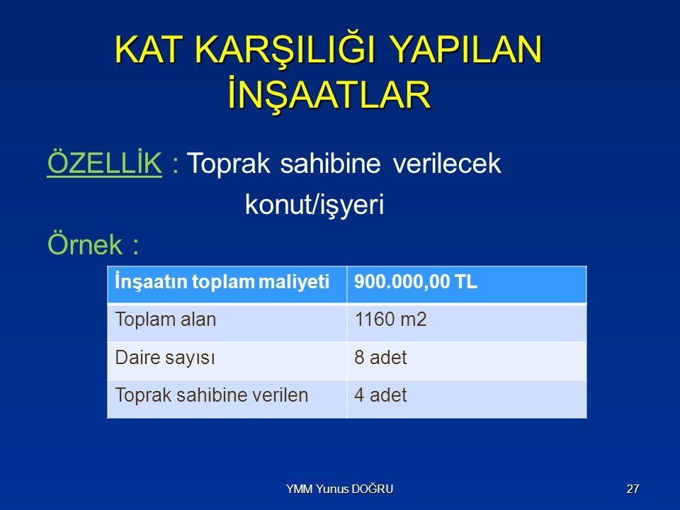 KAT KARŞILIĞI YAPILAN İNŞAATLAR ÖZELLİK : Toprak sahibine verilecek konut/işyeri Örnek : YMM Yunus DOĞRU27 İnşaatın toplam maliyeti900.000,00 TL Topla