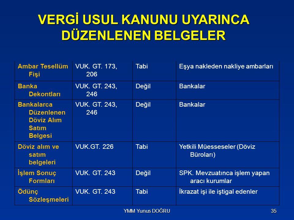 VERGİ USUL KANUNU UYARINCA DÜZENLENEN BELGELER Sigorta Poliçeleri VUK.