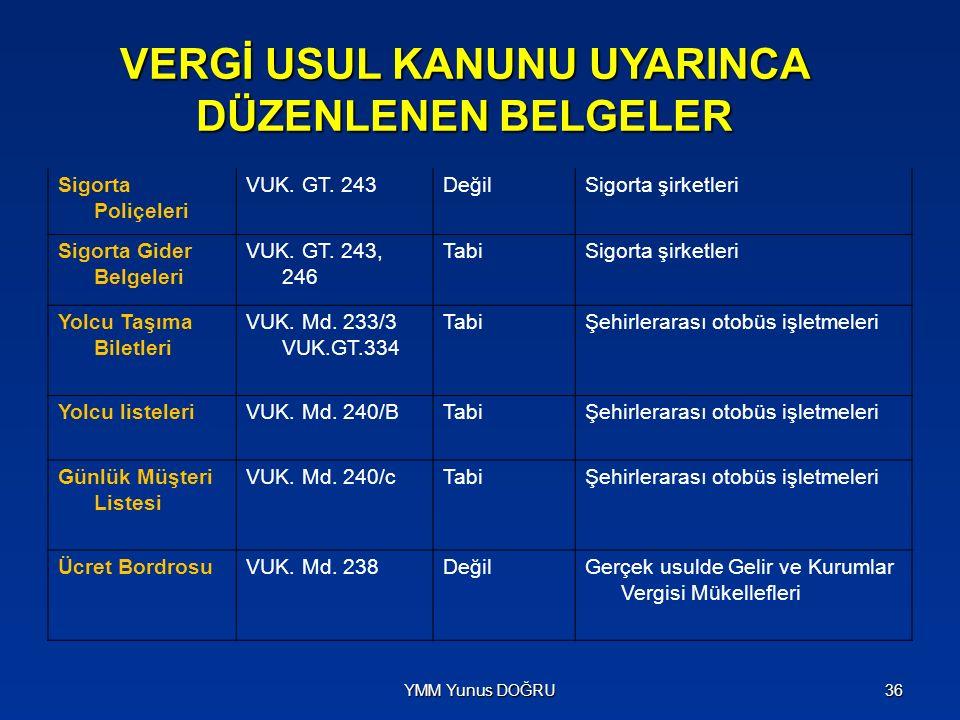 VERGİ USUL KANUNU UYARINCA DÜZENLENEN BELGELER Sigorta Poliçeleri VUK. GT. 243DeğilSigorta şirketleri Sigorta Gider Belgeleri VUK. GT. 243, 246 TabiSi