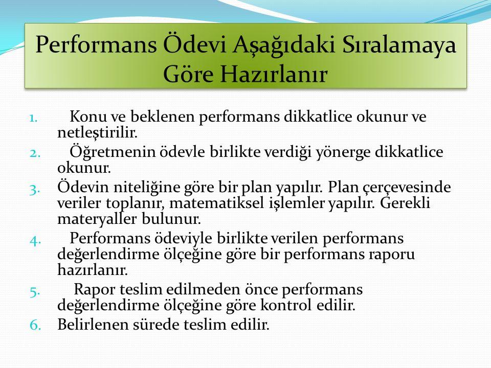 Performans Ödevi Aşağıdaki Sıralamaya Göre Hazırlanır 1. Konu ve beklenen performans dikkatlice okunur ve netleştirilir. 2. Öğretmenin ödevle birlikte
