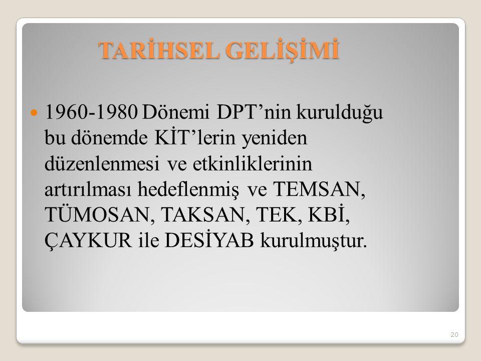 1960-1980 Dönemi DPT'nin kurulduğu bu dönemde KİT'lerin yeniden düzenlenmesi ve etkinliklerinin artırılması hedeflenmiş ve TEMSAN, TÜMOSAN, TAKSAN, TE
