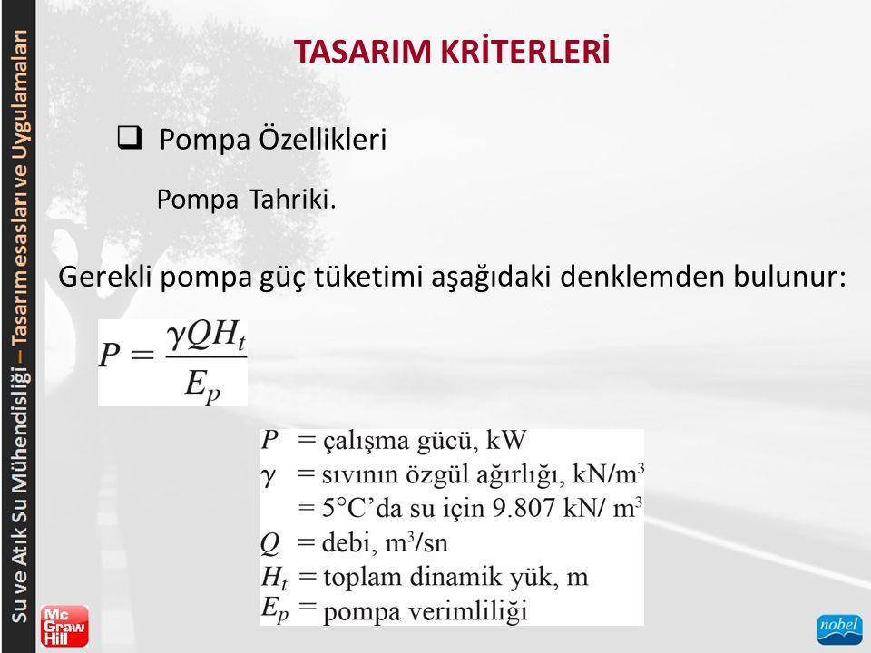 TASARIM KRİTERLERİ  Pompa Özellikleri Pompa Tahriki. Gerekli pompa güç tüketimi aşağıdaki denklemden bulunur: