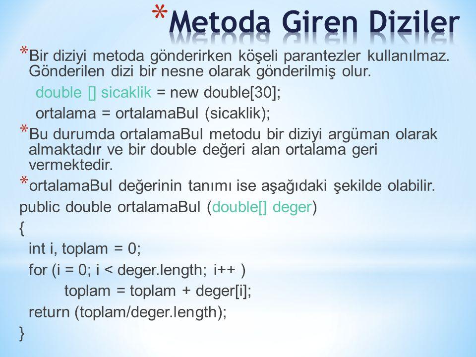 * Bir diziyi metoda gönderirken köşeli parantezler kullanılmaz. Gönderilen dizi bir nesne olarak gönderilmiş olur. double [] sicaklik = new double[30]