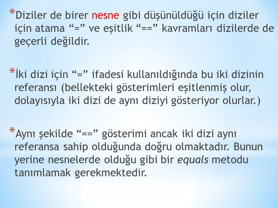 """* Diziler de birer nesne gibi düşünüldüğü için diziler için atama """"="""" ve eşitlik """"=="""" kavramları dizilerde de geçerli değildir. * İki dizi için """"="""" if"""