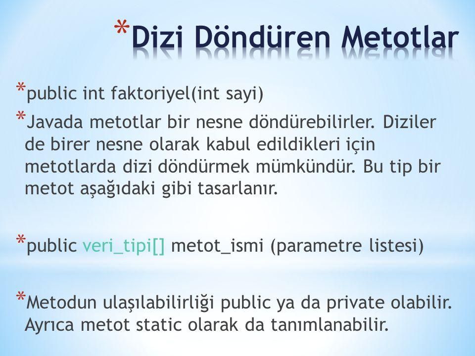 * public int faktoriyel(int sayi) * Javada metotlar bir nesne döndürebilirler. Diziler de birer nesne olarak kabul edildikleri için metotlarda dizi dö