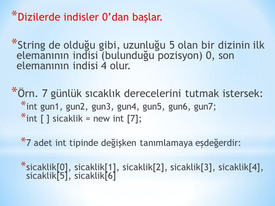 * Dizi tanımlandıktan sonra her bir elemanına değer atanabilir: * sicaklik[0] = 7; * sicaklik[1] =4; * sicaklik[2] =-1; * sicaklik[3] =-3; * sicaklik[4] =0; * sicaklik[5] =2; * sicaklik[6] =3;