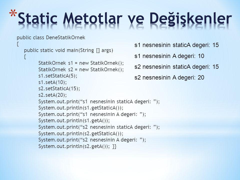 public class DeneStatikOrnek { public static void main(String [] args) { StatikOrnek s1 = new StatikOrnek(); StatikOrnek s2 = new StatikOrnek(); s1.setStaticA(5); s1.setA(10); s2.setStaticA(15); s2.setA(20); System.out.print( s1 nesnesinin staticA degeri: ); System.out.println(s1.getStaticA()); System.out.print( s1 nesnesinin A degeri: ); System.out.println(s1.getA()); System.out.print( s2 nesnesinin staticA degeri: ); System.out.println(s2.getStaticA()); System.out.print( s2 nesnesinin A degeri: ); System.out.println(s2.getA()); }} s1 nesnesinin staticA degeri: 15 s1 nesnesinin A degeri: 10 s2 nesnesinin staticA degeri: 15 s2 nesnesinin A degeri: 20