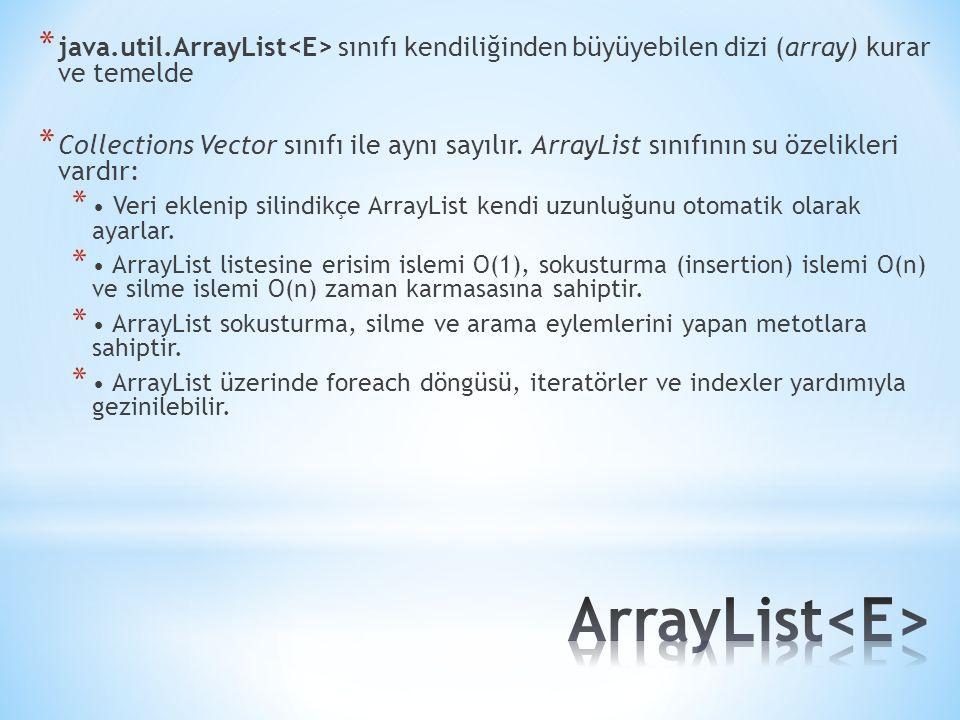 * java.util.ArrayList sınıfı kendiliğinden büyüyebilen dizi (array) kurar ve temelde * Collections Vector sınıfı ile aynı sayılır. ArrayList sınıfının