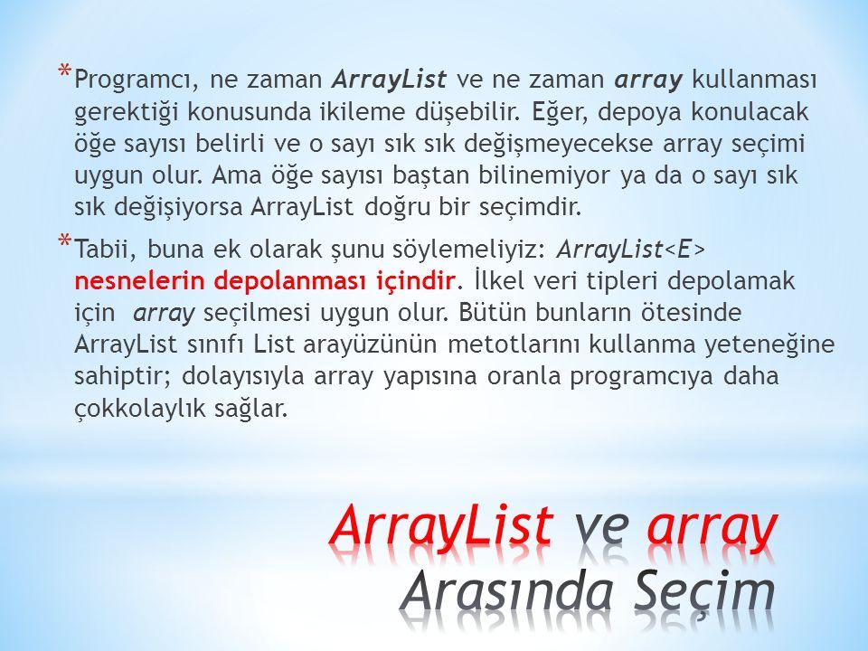 * Programcı, ne zaman ArrayList ve ne zaman array kullanması gerektiği konusunda ikileme düşebilir. Eğer, depoya konulacak öğe sayısı belirli ve o say
