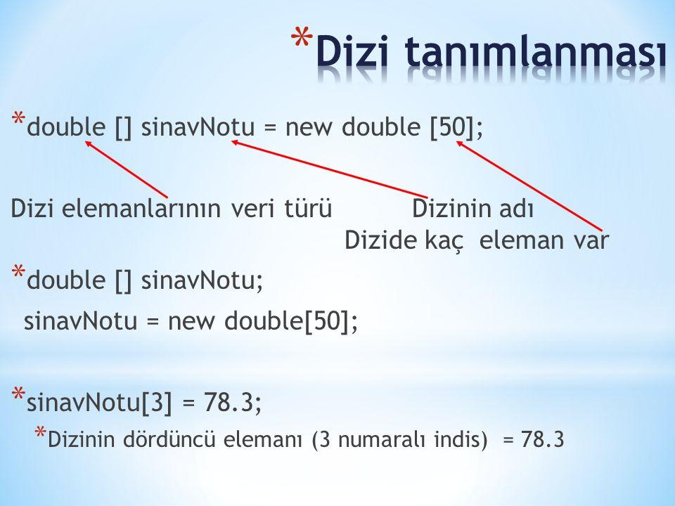 * double [] sinavNotu = new double [50]; Dizi elemanlarının veri türü Dizinin adı Dizide kaç eleman var * double [] sinavNotu; sinavNotu = new double[